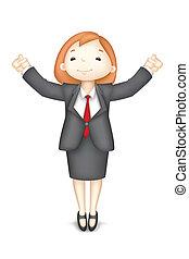 Happy 3d Geschäftsfrau in Vektor