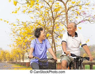 Happy asiatische Senior Paar fahren mit dem Fahrrad im Park.