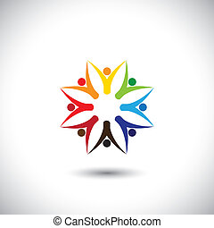 Happy colorful people community in circle - conceptvektor
