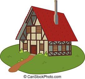 Haus über Rasen.