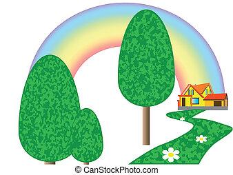 Haus auf dem Rasen.