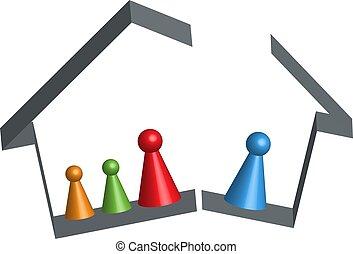 Haus kaputte Familie in 3D.