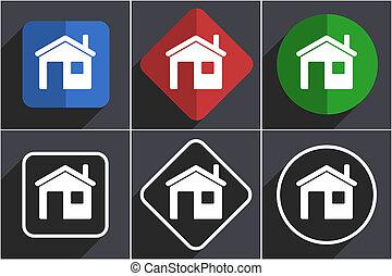 Haus Satz von flachen Design Web Icons in 6 Optionen.