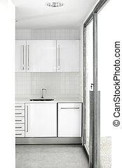 Haus weiße Küche modern.