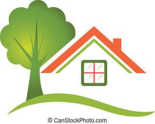 Hausbaum für Immobilienlogo.