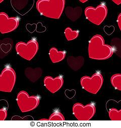 heart., muster, valentines, seamless, abbildung, vektor, hintergrund, tag, glücklich