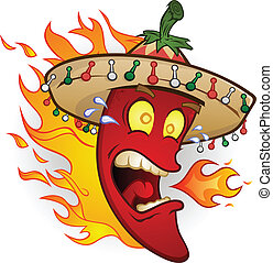 Heiße Chili-Pepper-Zeichenfigur