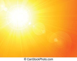 Heiße Sommersonne mit Linse