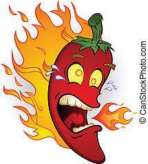 Heißer Chilipfeffer auf Feuer Cartoon