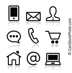 heiligenbilder, web, satz, kontakt, vektor