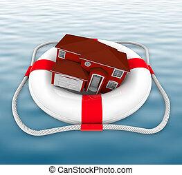 Heimat im Rettungsring auf Wasser