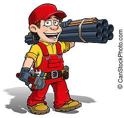 heimwerker, klempner, -, rotes