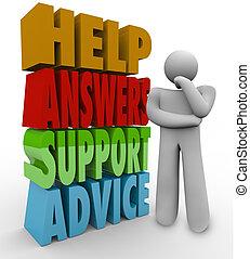 Helfen Sie Antworten, um Rat zu unterstützen, denken Sie nur an Worte