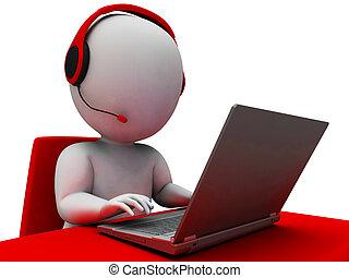 Helpdesk Hotline-Operator zeigt Unterstützung.