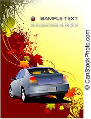 Herbstblatt Hintergrund mit Autobild, Vektorgrafik.