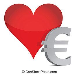 herz, aus, design, abbildung, euro