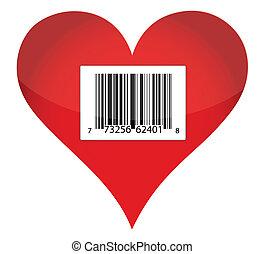 herz, barcode, design, abbildung