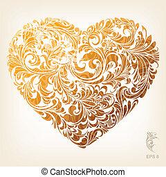 herz, dekorativ, gold, muster