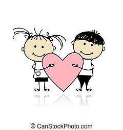 herz, groß, kinder, valentine, day., design, dein, rotes