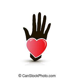 herz, hand, ikone