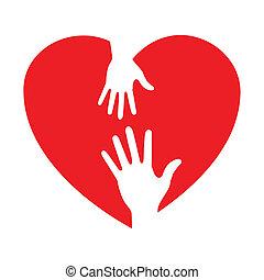 Herz Ikone mit liebevollen Händen.