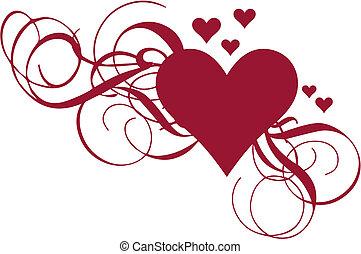 Herz mit Wirbeln, Vektor