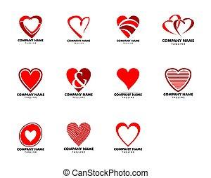 herz, satz, liebe, abbildung, vektor, logo