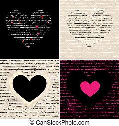herz, set., love., abbildung, hintergrund., vektor