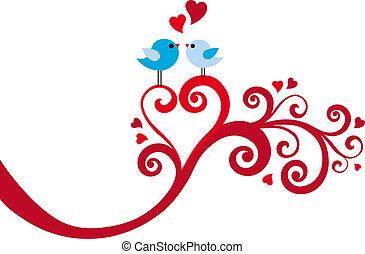 herz, vektor, liebe, wirbel, vögel