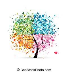 herzen, jahreszeiten, -, sommer, dein, baum, vier, herbst, kunst, winter., fruehjahr, gemacht, design