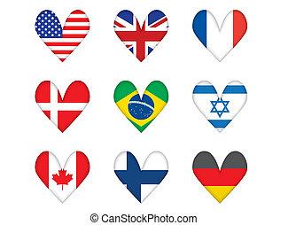 Herzförmige Flaggen