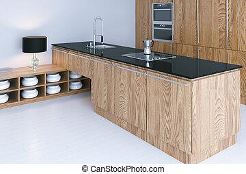 Hi-Tech-Küche Innenausbau mit weißem Fußboden 3D-Render.