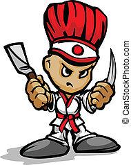 Hibachi-Grill-Chefkoch mit entschlossenem Gesicht und Kochen von Utinsilen, Cartoon Vektorbild