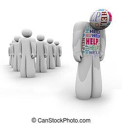 Hilfe - alleinstehende Person ist traurig und braucht Hilfe