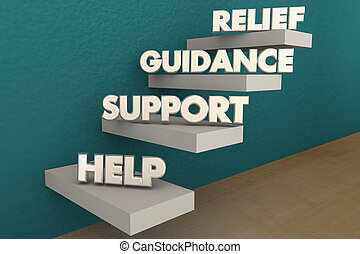 Hilfe bei der Unterstützung von Hilfsschritten Wörter 3d Illustration.