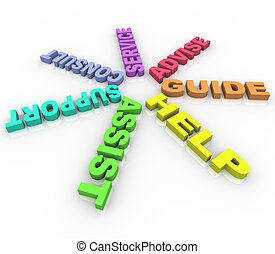 Hilfe - farbige Worte im Kreis