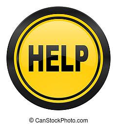 Hilfe Ikone, gelbes Logo.