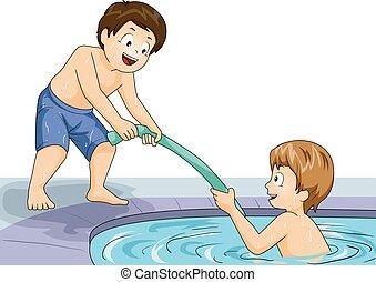 hilfe, teich, kinder, knaben, abbildung, schwimmen, nudel