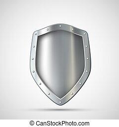 hintergrund, freigestellt, weißes, leer, schutzschirm, metall