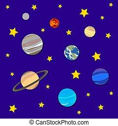 Hintergrund mit Planeten und Sternen, kosmische Kulisse, Papierkunst.