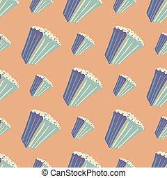 hintergrund., pattern., beige, seamless, hintergrund., einfache , gekritzel, licht, verzierung, sinema, blaues, weich, popcorn