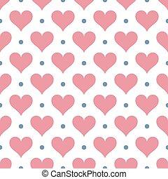 hintergrund, pattern., tag, valentines, herz, vektor, seamless