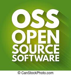 hintergrund, technologie, akronym, quelle, -, oss, software, rgeöffnete, begriff