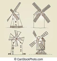 hintergrund, windmühlen, silhouetten, vektor, freigestellt, satz, beige