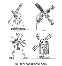 hintergrund, windmühlen, silhouetten, vektor, weißes, freigestellt, satz