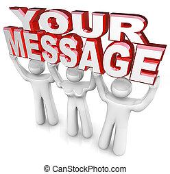 hoben, wort, hilfe, leute, besorgen, bekommen, drei, sie, werbung, wörter, mannschaft, nachricht, dein, heraus