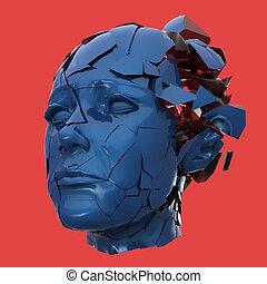 Hochglanzfrauenkopf explodierende Rollläden - Kopfschmerzen, psychische Probleme, Stress