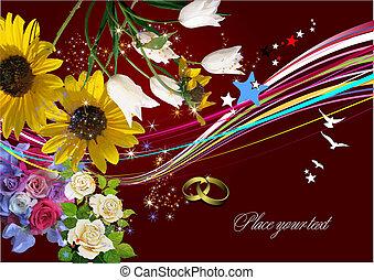 Hochzeitsgrußkarte. Vektor Illustration. Einladungskarte