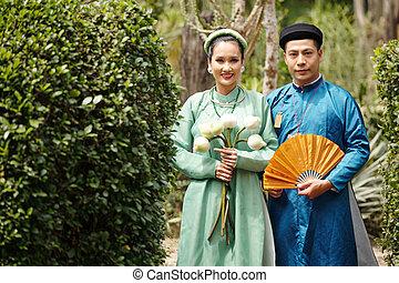 hochzeitspaar, kostüme, traditionelle