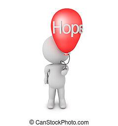 hoffnung, besitz, ihm, balloon, 3d, wort, geschrieben, zeichen